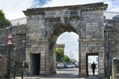 Road passing through arch, Bishops Gate, Derry City Walls, Londonderry, Northern Ireland, United Kingdom
