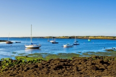 Boats on Galway Bay in Ireland on a sunny day