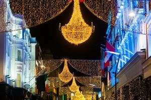 "Grafton street in Dublin, Christmas light. The inscription ""Nollaig Shona Duit"" is ""Happy Christmas"" in Irish."